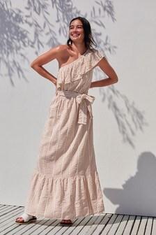 Tan 1 Shoulder Strap Dress