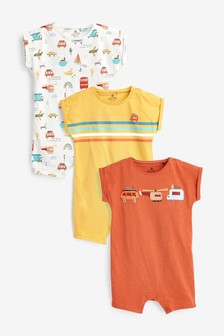 Rust 3 Pack Transport Rompers (0mths-3yrs)