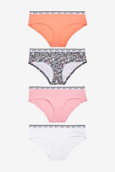 Coral/Floral Short Cotton Rich Logo Knickers Four Pack