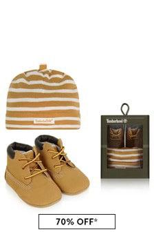 Baby Boys Beige Striped Hat & Booties Set