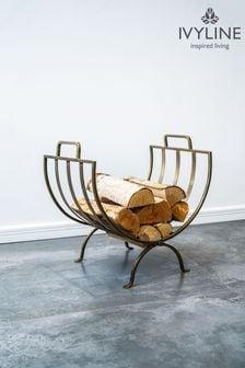 Antique Pewter Log Storage Basket by Ivyline
