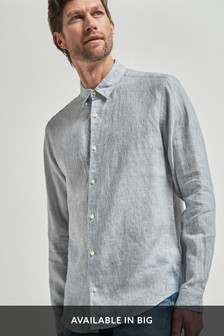 Blue Regular Fit Linen Stripe Long Sleeve Shirt