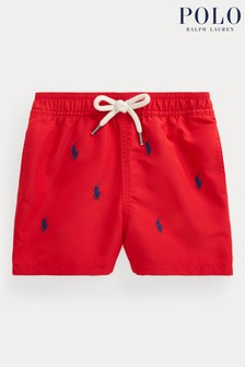 Ralph Lauren Red All Over Logo Swim Shorts