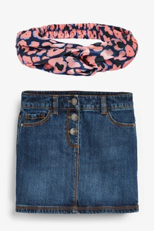 Dark Blue Button Front Skirt And Headband (3-16yrs)