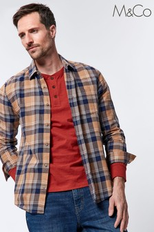 M&Co Men Tan Checked Shirt