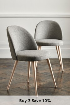 Wool Blend Grey Set of 2 Zola Dining Chairs With Light Legs