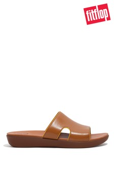 FitFlop Tan H-Bar Pop-Binding Leather Sliders