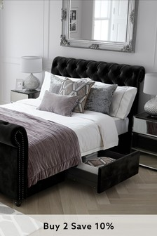 Opulent Velvet Black Westcott® Two Drawer Bed