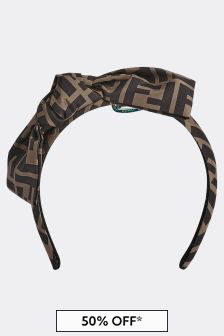 Fendi Kids Girls Brown Headband