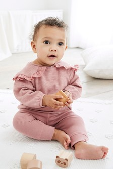 Pink Oversized Collar Jersey Set (0mths-2yrs)
