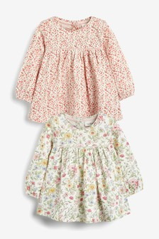 Pink/White 2 Pack Floral Tunic Tops (0mths-3yrs)
