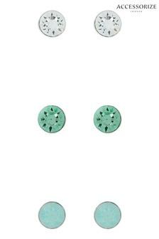 Accessorize Green Stud Set With Swarovski® Crystals