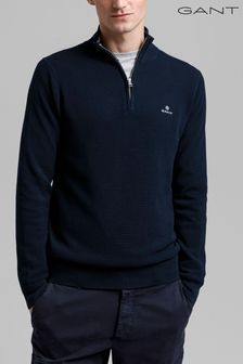 GANT Blue Cotton Half Zip Pique Top