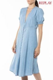 Replay® Chambray Denim Cap Sleeved Dress
