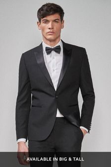 Black Slim Fit Tuxedo Suit: Jacket