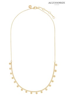 Accessorize Gold Plated Disc Charm Station Necklace