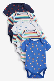 Multi 5 Pack Character Short Sleeve Bodysuits (0mths-3yrs)