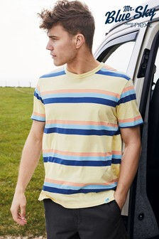 Yellow/Blue Block Mr Blue Sky Organic Cotton Stripe T-Shirt