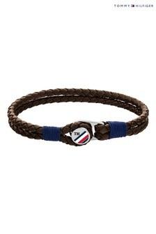 Tommy Hilfiger Mens Button Leather Bracelet