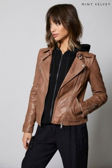 Mint Velvet Tan Zip Leather Biker Jacket