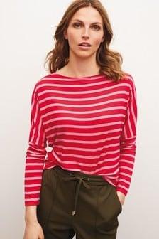 Pink/Red Stripe Dolman Long Sleeve Top