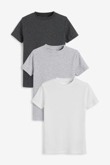 Grey/White 3 Pack GOTS Organic Rib T-Shirts (1.5-16yrs)