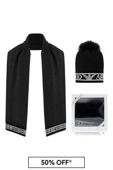 Girls Black Wool Hat Two Piece Set