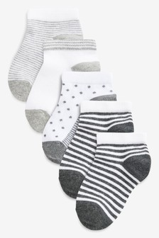 Mono 5 Pack Spot And Stripe Trainer Socks