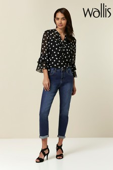 Wallis Petite Blue Denim Roll-Up Jeans