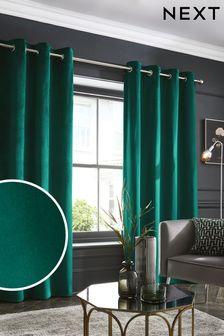 Green Matte Velvet Eyelet Lined Curtains