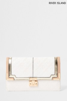 River Island White Embossed Travel Wallet