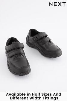 Black Narrow Fit (E) Leather Double Strap Shoes