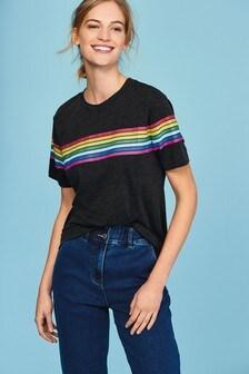 Charcoal Rainbow Stripe Crew Neck T-Shirt