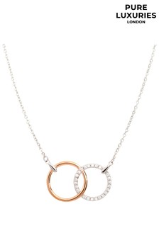 PureLuxuries London Aleesia Gold And Silver Hoop Necklace