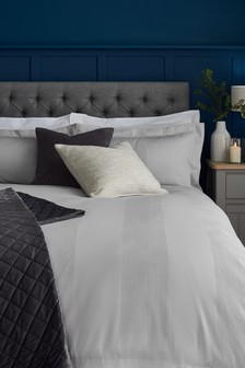 Grey  300 Thread Count Cotton Waffle Duvet Cover and Pillowcase Set