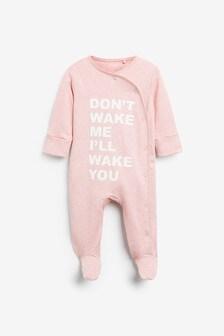 Pink Slogan Sleepsuit (0mths-2yrs)