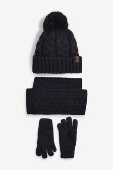 Navy 3 Piece Hat, Scarf And Gloves Set (Older)