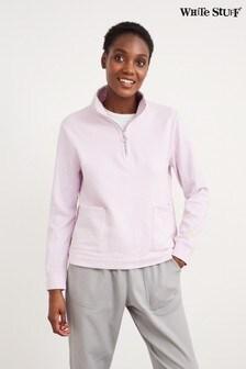 White Stuff Purple Half Zip Sweat Top
