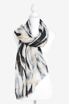 Blue Abstract Print Scarf