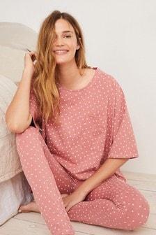 Pink Stars Cotton Blend Legging Pyjamas