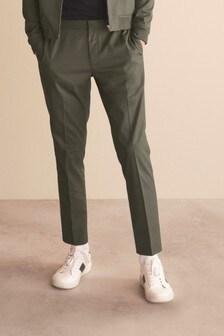 Khaki Drawstring Stretch Formal Joggers