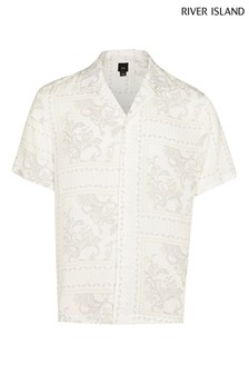 River Island White Washed Paisley Print Revere Shirt