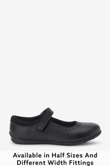 Black Narrow Fit (E) Leather Mary Jane Brogues
