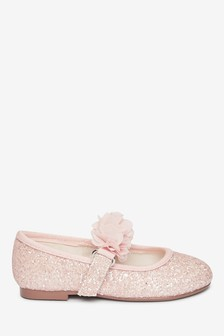 Pink Glitter Occasion Corsage Mary Jane Shoes