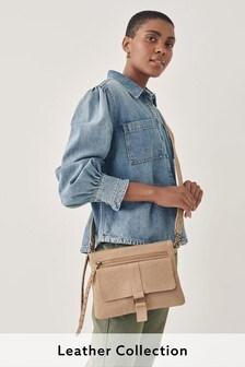 Mink Leather Stud Across Body Bag
