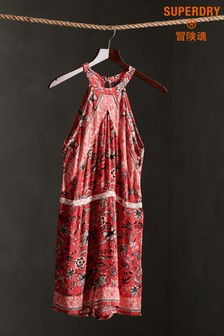 Superdry Red All Over Print Playsuit