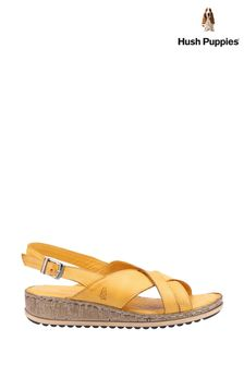 Hush Puppies Yellow Elena Cross Over Wedge Sandals