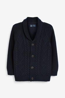 Navy Cable Button Through Cardigan (3-16yrs)