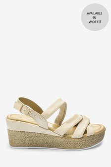 Nude Leather Soft Knot Wedge Sandals