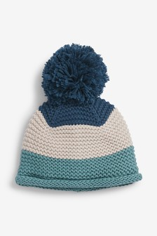 Blue Colourblock Pom Hat (0mths-2yrs)
